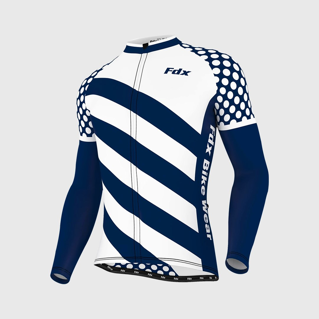 Fdx Equin Men's White Long Sleeves Cycling Jersey