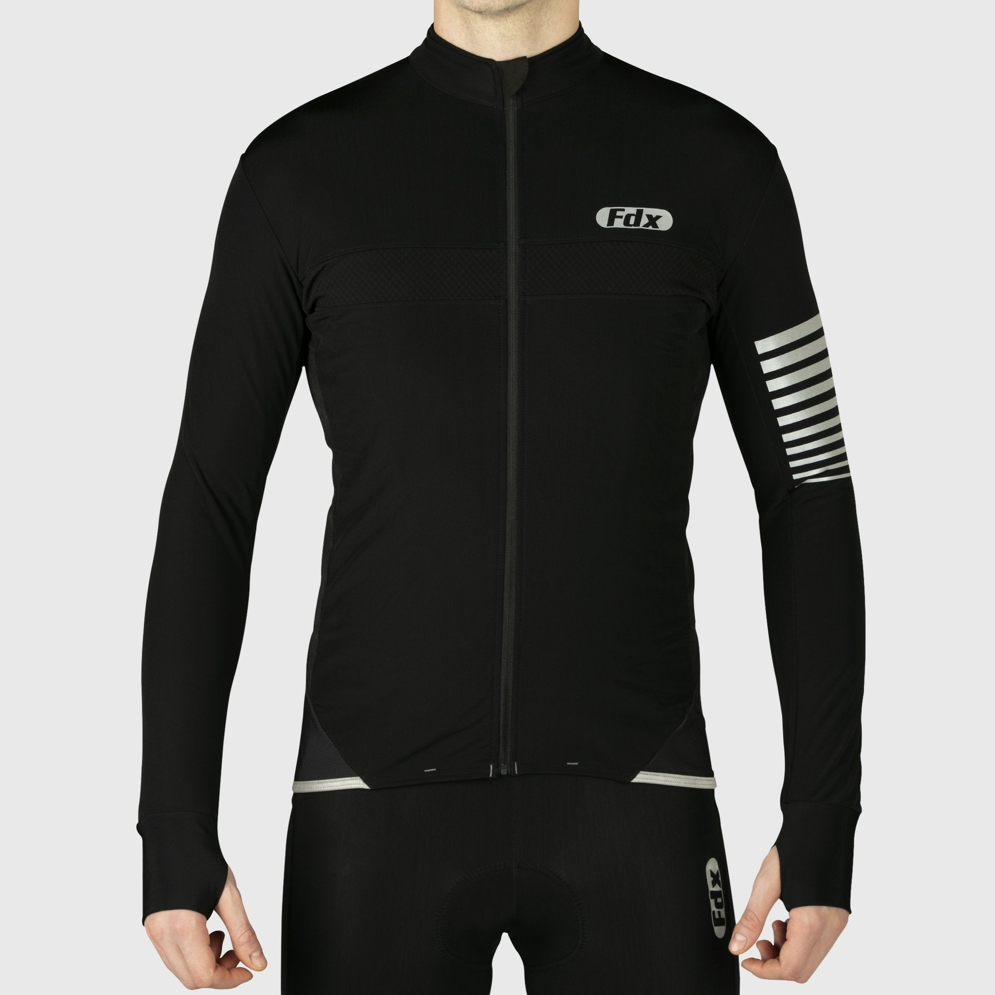 Fdx All Day Long Sleeves Men's Black Cycling Jersey - FDX Sports