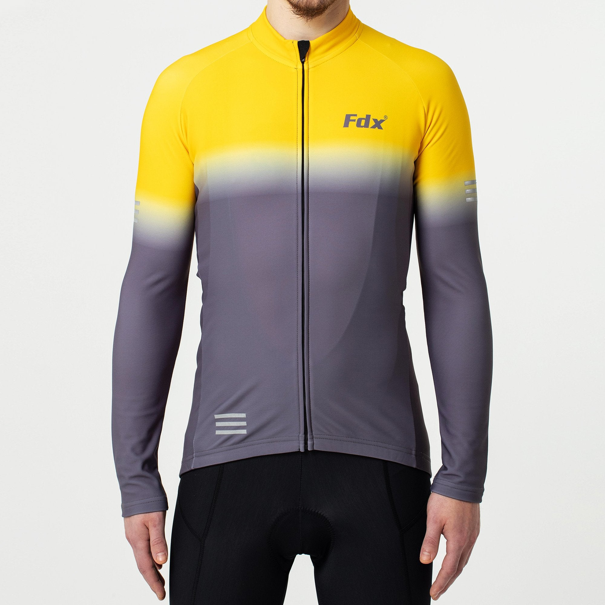 Fdx Men Duo Yellow & Grey Long Sleeve Thermal Cycling Jersey