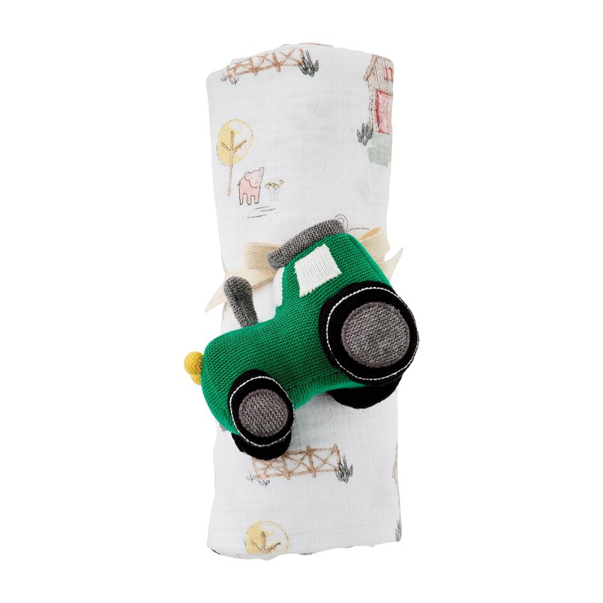 Farm Swaddle & Tractor Rattle Set