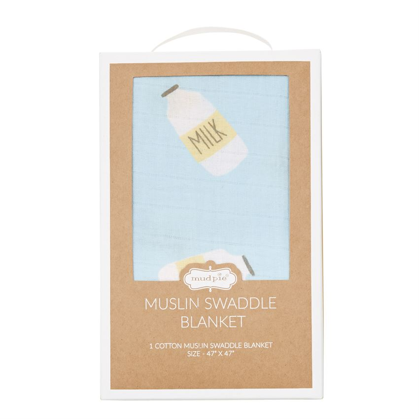 Blue Milk Muslin Swaddle Blanket