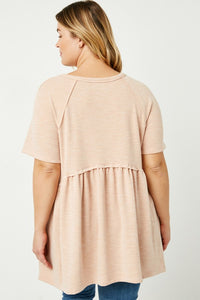Raw Edge Peplum Top