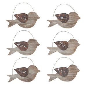 Wood Bird Ornaments
