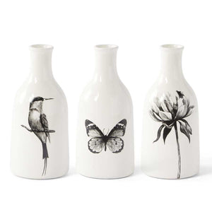 White Ceramic Bottle Vases