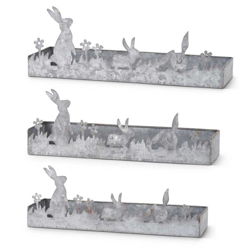 Tin Potting Trays w/Bunny Cutout Trim