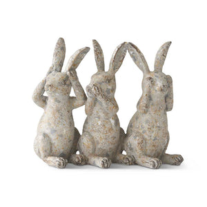 Distressed Gray Bunny Figure