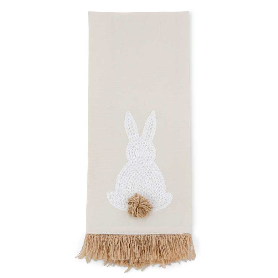 White Embroidered Easter Bunny Tea Towel