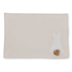 White Embroidered Easter Bunny Placemat