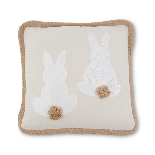 White Embroidered Easter Bunny Pillow