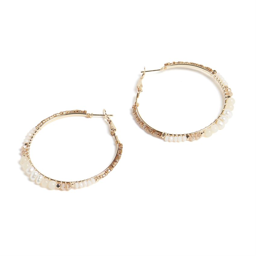 Sunset Bead & Pearl Hoop Earrings