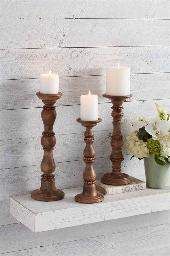 Beaded Wood Candlesticks