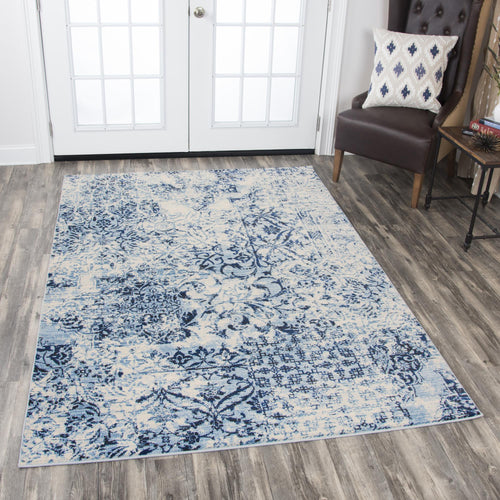 Floral Blue Distressed Rug