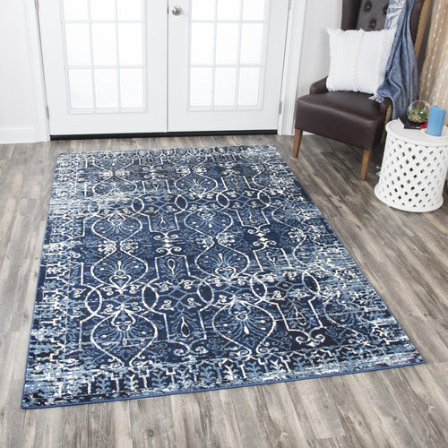 Pattern Blue Distressed Rug