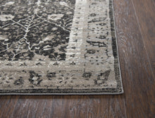 """Mind Your Manners"" Black Distressed Rug"
