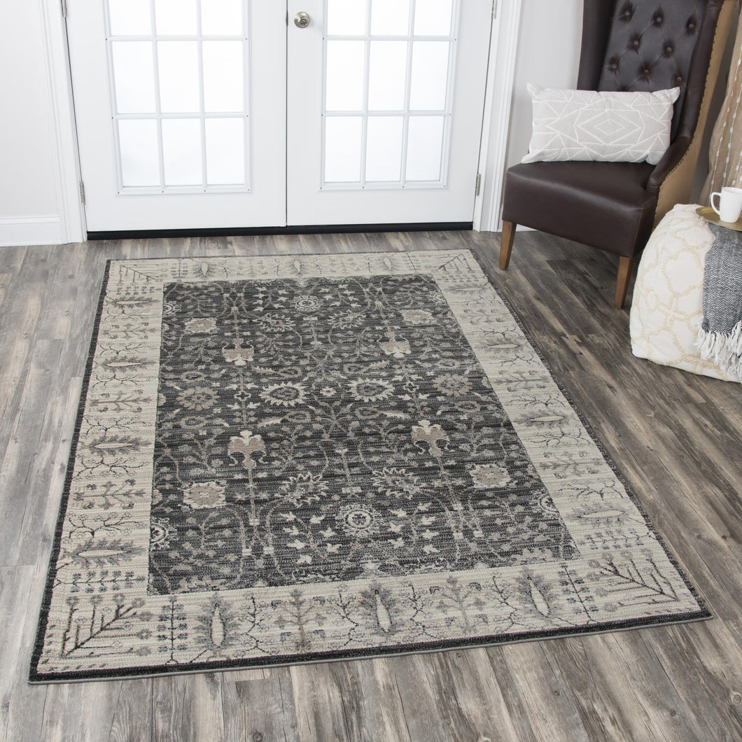 Border Gray Distressed Rug