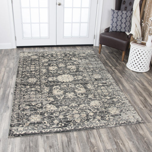 Traditional Charcoal distressed Rug