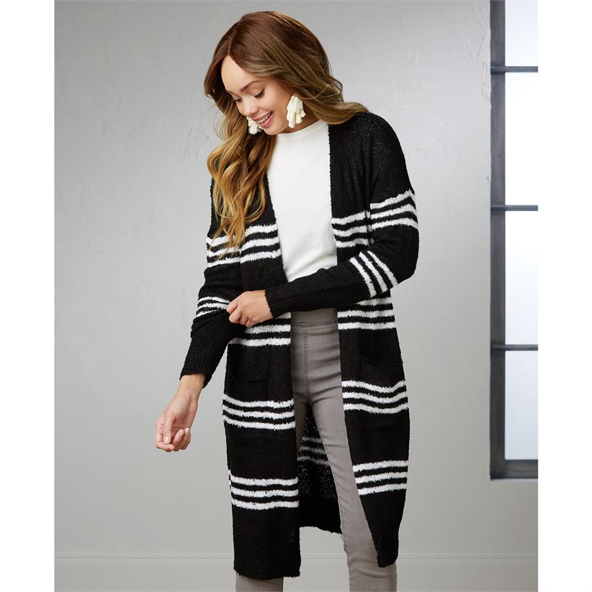 Wrenn Striped Cardigan Black