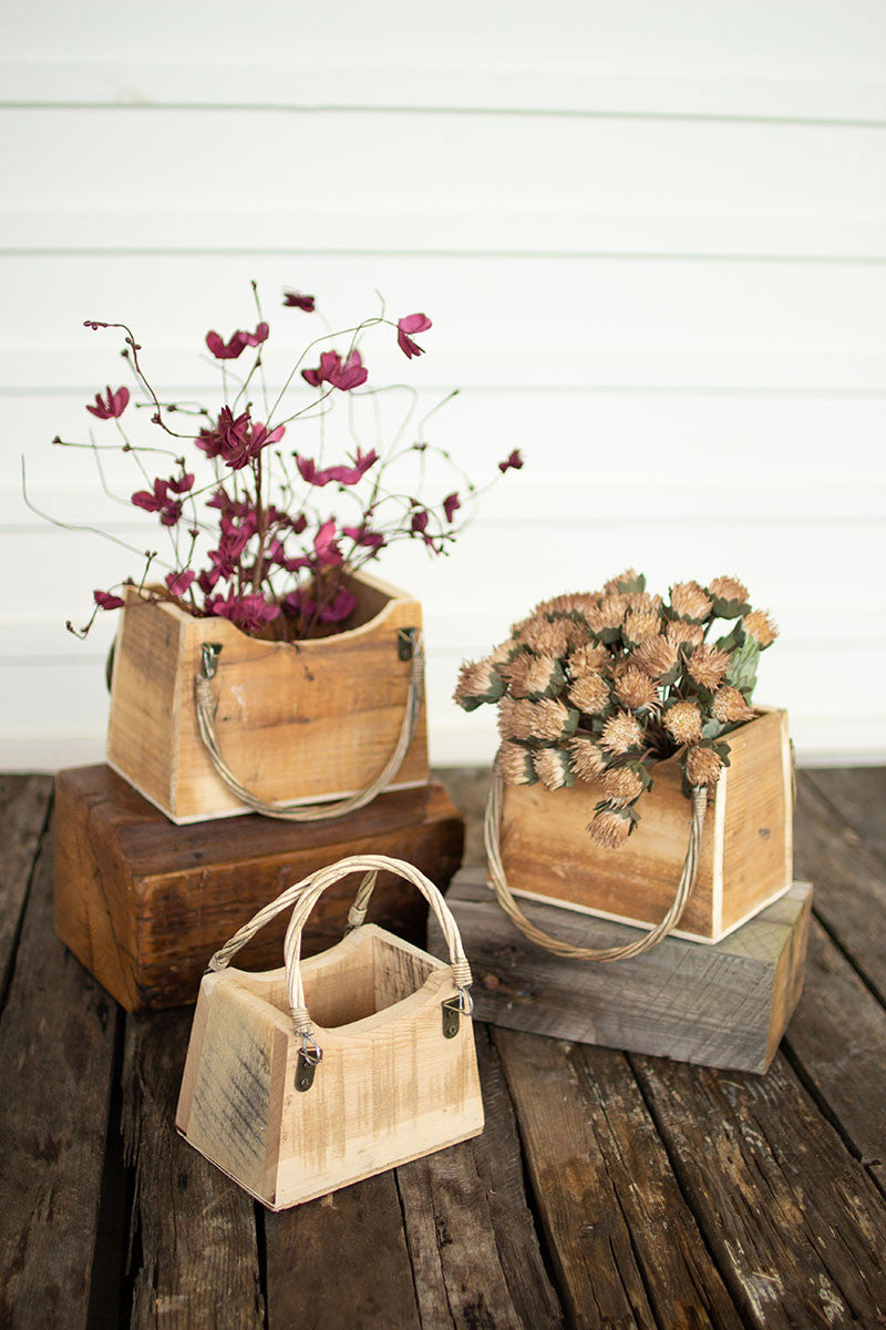 Rustic Recycled Wood Hand Bag Planters