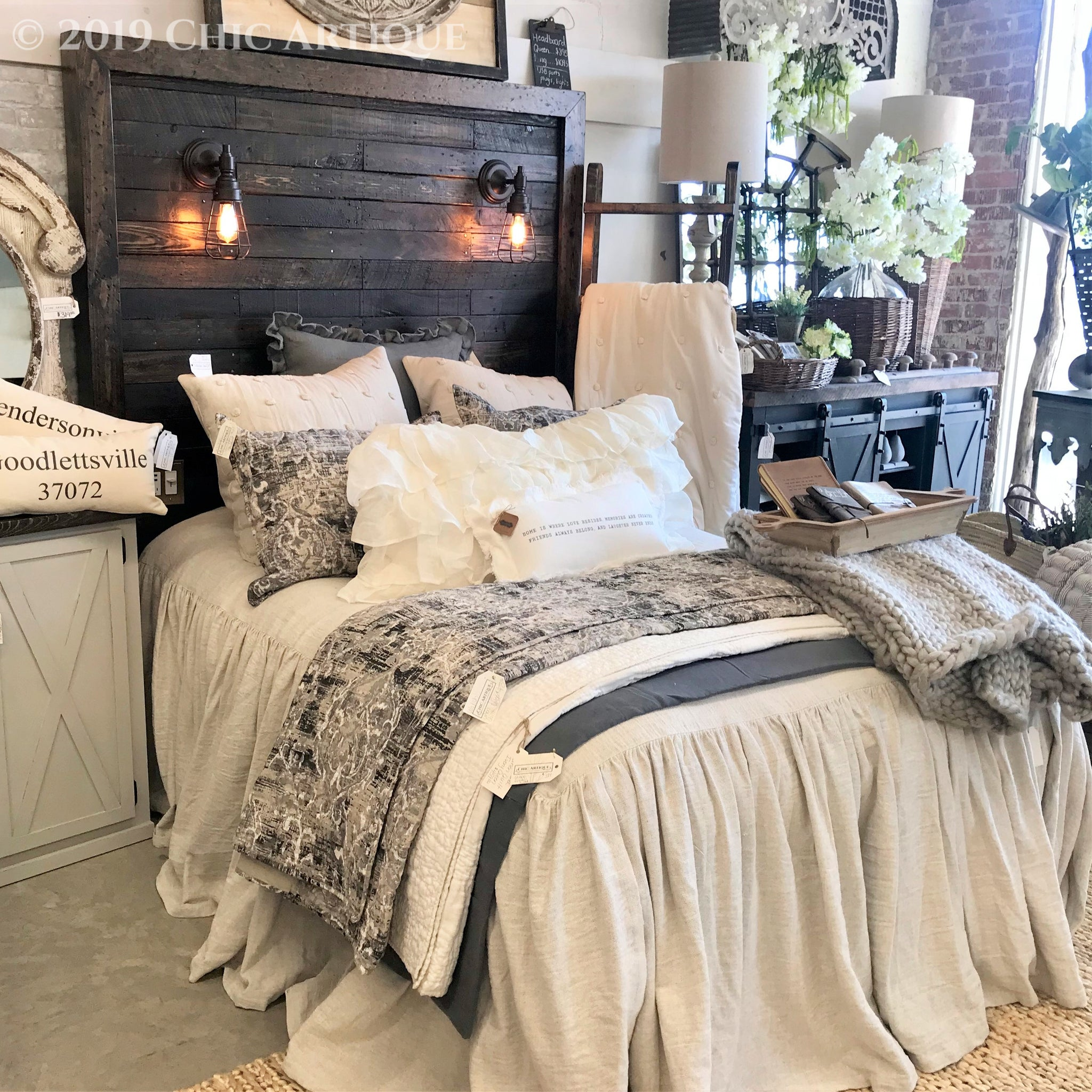 Rustic Lighted Headboard Chic Artique