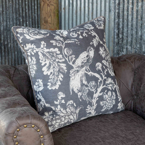 Grey Down Filled Bird Toile Pillow