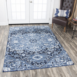 """Heavens To Betsy""  Blue Distressed Rug"