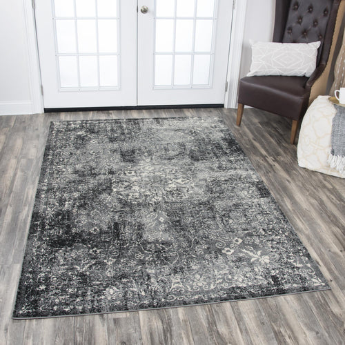 Plush Black Distressed Rug