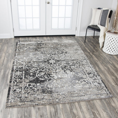 Aged Black Distressed Rug