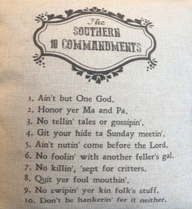 The Southern 10 Commandments Pillow