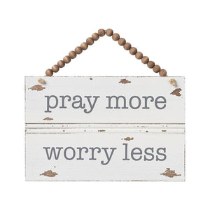 Pray More Beaded Sign