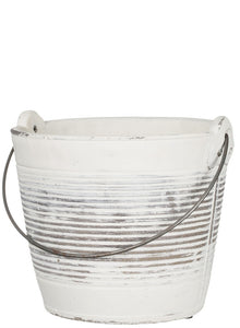Round Pail Distressed Cement Planter