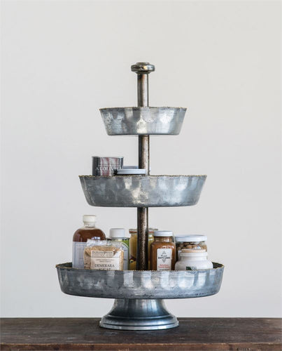 Galvanized Metal 3-Tier Tray