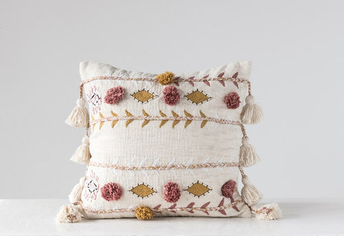 Square Cotton Woven Embroidered Pillow