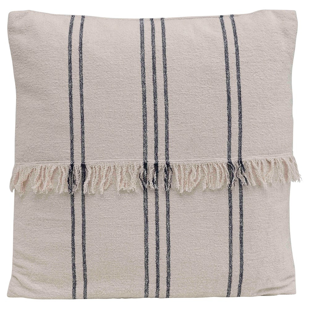 Square Woven Cotton Striped Fringe Pillow