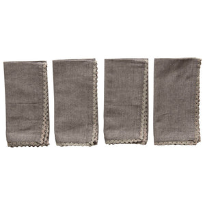 Cotton Lace Trimmed Napkin Set