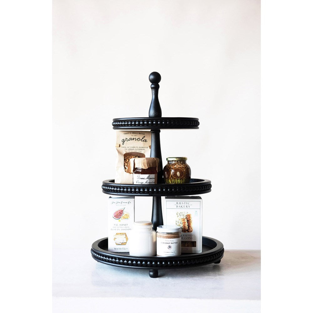 Black Beaded Wood 3 Tiered Stand Chic Artique