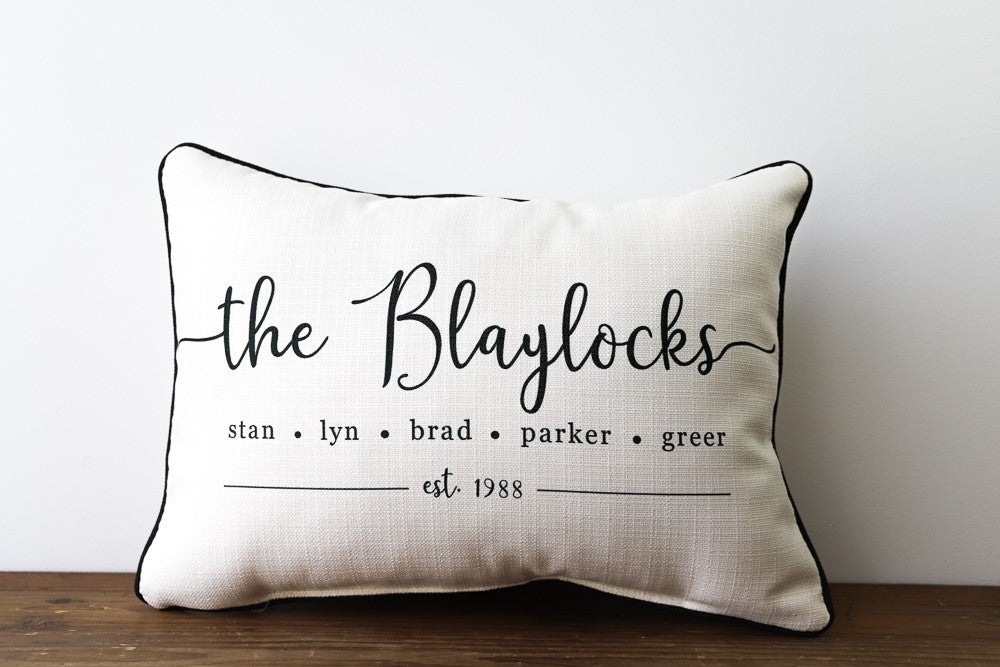 Custom Family Name Pillow