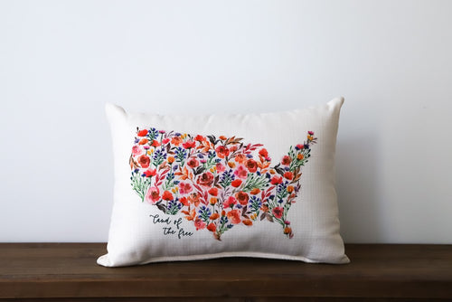 Land of the Free Floral Pillow