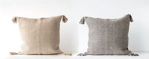Woven Striped Pillow w/ Tassels