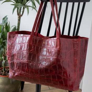 Large Leather Tote - Croc Print (5183108874374)