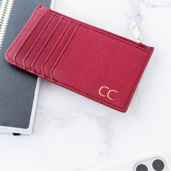 Leather Zip Card Holder - Burgundy (5183143051398)