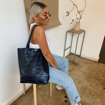 Personalised Croc Leather Tote (2220792348734)
