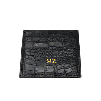 Personalised Black Croc Leather Cardholder (4289309474950)