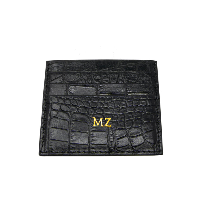 Personalised Black Croc Leather Cardholder