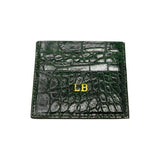 Personalised Bottle Green Croc Leather Cardholder