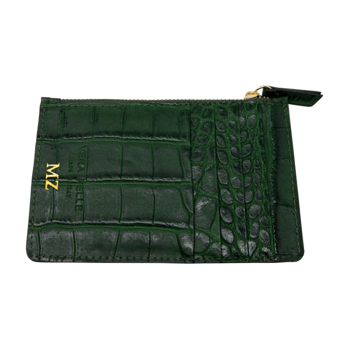 Personalised Bottle Green Croc Card Wallet