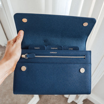 Leather Travel Wallet Navy Blue (5162648535174)