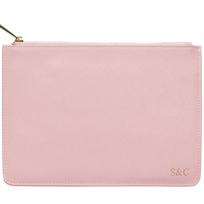 SALE Personalised Leather Pouch - Baby Pink