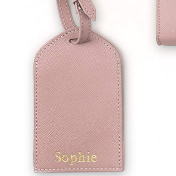 Personalised Leather Luggage Tags - Mink