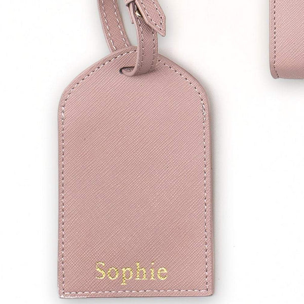Personalised Leather Luggage Tags - Light Pink (2213114413118)