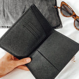 Black Personalised Leather Passport Holder (4425544237190)